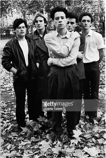 Charlie Burchill Derek Forbes Jim Kerr Mick Macneil and Brian McGee of Simple Minds pose for a group portrait in London in 1980