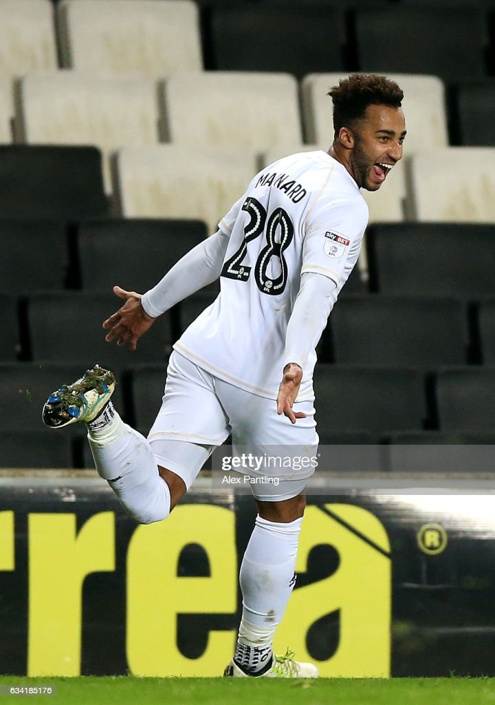 Charlie Burns of MK Dons celebrates scoring his sides first goal during the Sky Bet League One match between Milton Keynes Dons and Oldham Athletic at StadiumMK on February 7, 2017 in Milton Keynes, England.