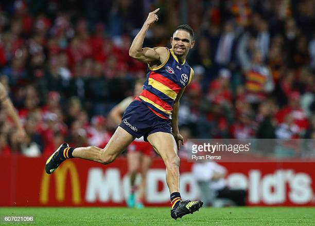 Charlie Cameron of the Crows celebrates a goal during the First AFL Semi Final match between the Sydney Swans and the Adelaide Crows at the Sydney...
