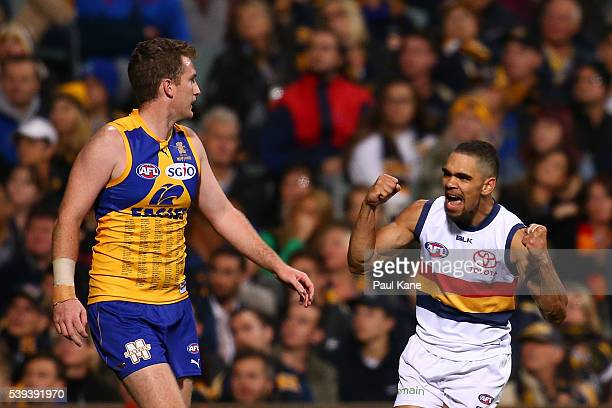 Charlie Cameron of the Crows celebrates a goal during the round 12 AFL match between the West Coast Eagles and the Adelaide Crows at Domain Stadium...