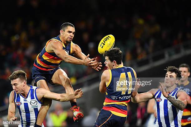 Charlie Cameron of the Crows competes for the ball during the round 14 AFL match between the Adelaide Crows and the North Melbourne Kangaroos at...