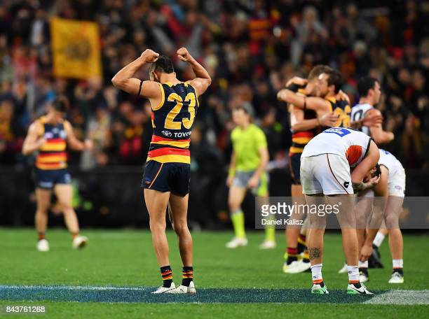 Charlie Cameron of the Crows reacts after the final siren during the AFL First Qualifying Final match between the Adelaide Crows and the Greater...