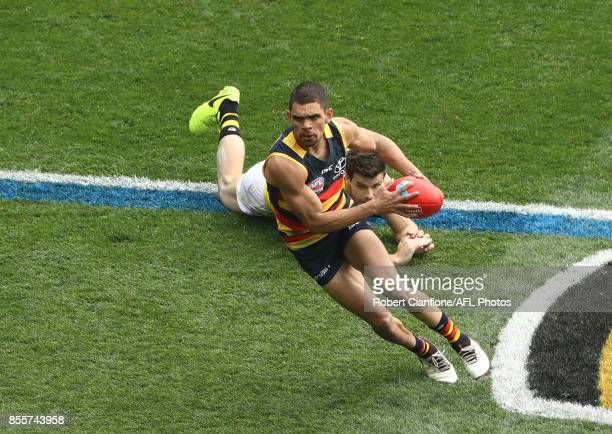 Charlie Cameron of the Crows runs with the ball during the 2017 AFL Grand Final match between the Adelaide Crows and the Richmond Tigers at Melbourne...