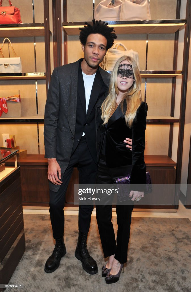 Charlie Casely-Hayford and <a gi-track='captionPersonalityLinkClicked' href=/galleries/search?phrase=Mary+Charteris&family=editorial&specificpeople=4361110 ng-click='$event.stopPropagation()'>Mary Charteris</a> attend the flagship store launch of Salvatore Ferragamo's Old Bond Street Boutique at 24 Old Bond Street on December 5, 2012 in London, England.