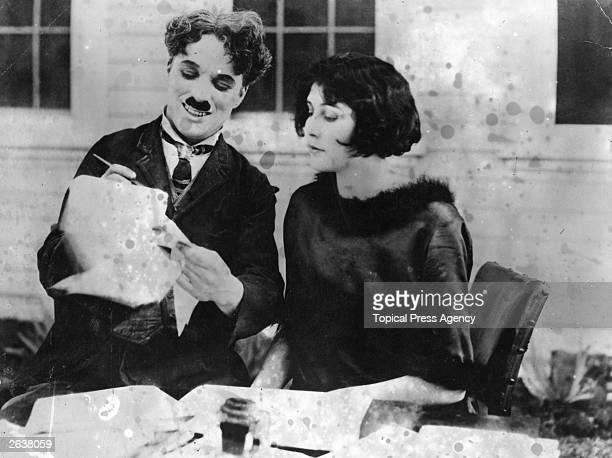 Charlie Chaplin English film actor and director signs up his second wife Lita Grey as an actress at his studio