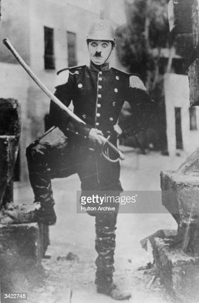 Charlie Chaplin the British comedian who made his career in America appears in costume possibly for his film 'Burlesque on Carmen' 1915