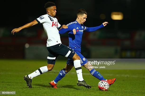 Charlie Colkett of Chelksea is challenged by Anton Walkes of Spurs during the Barclays U21 Premier League match between Tottenham Hotspur U21 and...