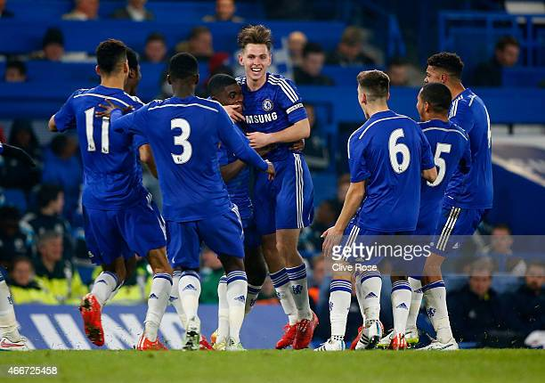 Charlie Colkett of Chelsea celebrates his goal during the FA Youth Cup Semi Final second leg match between Chelsea and Tottenham Hotspur at Stamford...