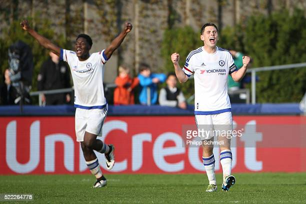 Charlie Colkett of Chelsea FC celebrates victory after the UEFA Youth League Final match between Paris Saint Germain and Chelsea FC at Colovray...