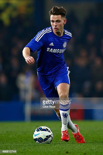 Charlie Colkett of Chelsea in action during the FA Youth Cup Semi Final second leg match between Chelsea and Tottenham Hotspur at Stamford Bridge on...