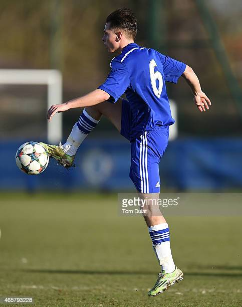 Charlie Colkett of Chelsea in action during the UEFA Youth League Quarter Final match between Chelsea and Atletico Madrid at Chelsea Training Ground...