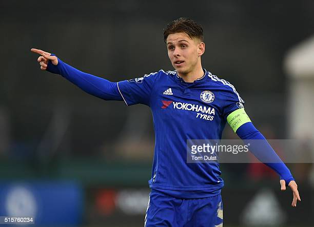 Charlie Colkett of Chelsea in action during the UEFA Youth League quarter final match between Chelsea and Ajax at Chelsea Training Ground on March 15...