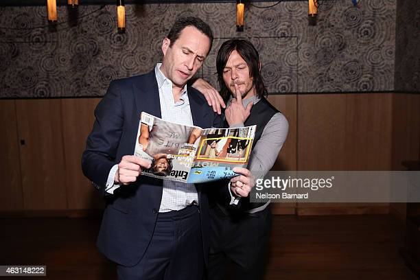 Charlie Collier President and General Manager AMC Networks and Norman Reedus attend an intimate dinner hosted by Entertainment Weekly to celebrate...