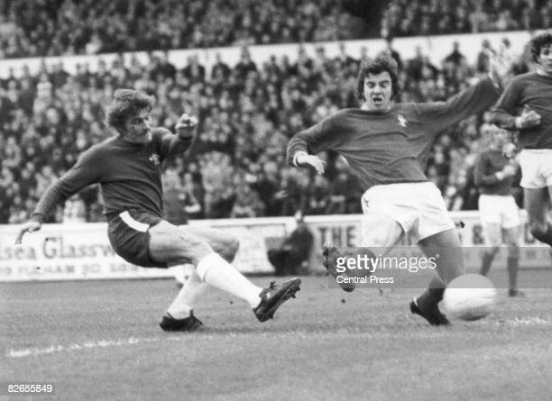 Charlie Cooke of Chelsea scores his side's first goal against Nottingham Forest at Stamford Bridge London 6th November 1971