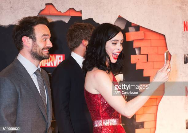 Charlie Cox and Krysten Ritter arrive for the Netflix premiere of Marvel's 'The Defenders' on July 31 2017 in New York / AFP PHOTO / Bryan R Smith