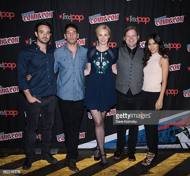 Charlie Cox Jon Bernthal Deborah Ann Woll Elden Hensen and Elodie Yung attend the Netflix Presents The Casts Of Marvel's Daredevil And Marvel's...