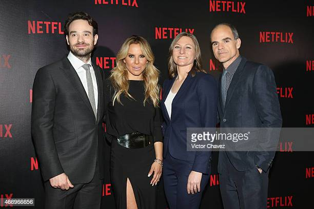 Charlie Cox Kate del Castillo guest and Michael Kelly attend the NetFlix Award 2015 at Museo Jumex on March 19 2015 in Mexico City Mexico