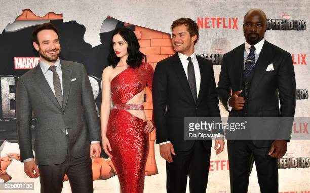 Charlie Cox Krysten Ritter Finn Jones and Mike Colter attend the 'Marvel's The Defenders' New York Premiere at Tribeca Performing Arts Center on July...