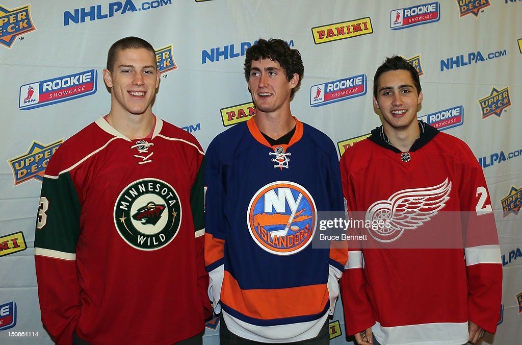 Charlie Coyle of the Minnesota Wild, Brock Nelson of the New York Islanders and Tomas Jurco of the Detroit Red Wings meet with the media at the 2012 NHLPA rookie showcase at the MasterCard Centre on August 28, 2012 in Toronto, Canada.