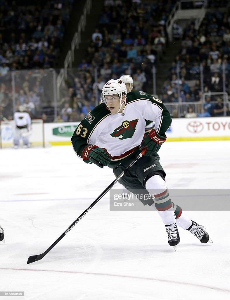 <a gi-track='captionPersonalityLinkClicked' href=/galleries/search?phrase=Charlie+Coyle&family=editorial&specificpeople=7029381 ng-click='$event.stopPropagation()'>Charlie Coyle</a> #63 of the Minnesota Wild in action against the San Jose Sharks at HP Pavilion on April 18, 2013 in San Jose, California.
