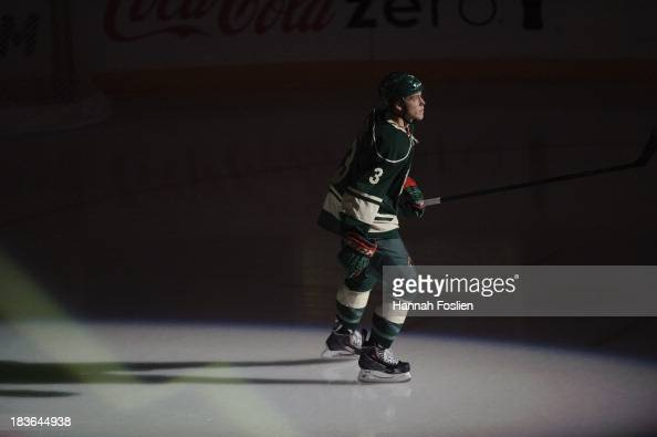 Charlie Coyle of the Minnesota Wild is announced before the game ...