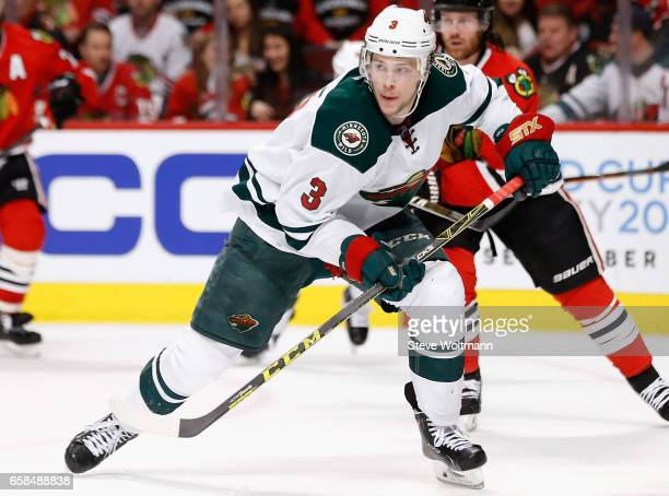 Charlie Coyle of the Minnesota Wild plays in the game against the Chicago Blackhawks at the United Center on March 20 2016 in Chicago Illinois