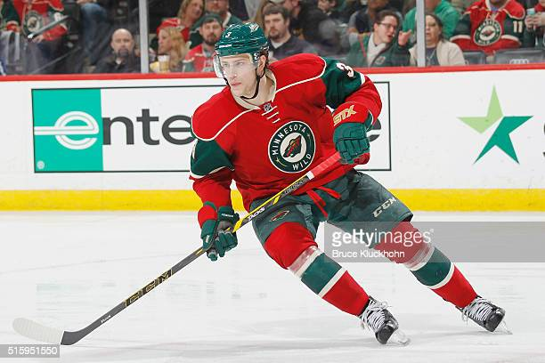 Charlie Coyle of the Minnesota Wild skates against the Edmonton Oilers during the game on March 10 2016 at the Xcel Energy Center in St Paul Minnesota