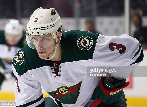 Charlie Coyle of the Minnesota Wild skates against the New York Islanders at the Barclays Center on February 2 2016 in the Brooklyn borough of New...