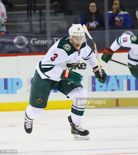 Charlie Coyle of the Minnesota Wild skates against the New York Islanders at the Barclays Center on October 23 2016 in the Brooklyn borough of New...