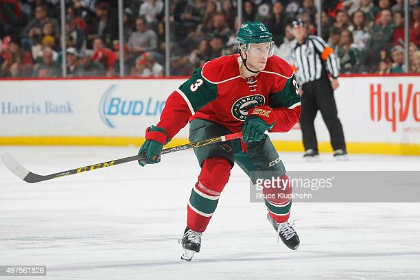 Charlie Coyle of the Minnesota Wild skates against the Winnipeg Jets during the game on November 10 2015 at the Xcel Energy Center in St Paul...