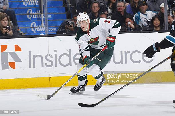 Charlie Coyle of the Minnesota Wild skates with the puck against the San Jose Sharks at SAP Center on January 5 2017 in San Jose California