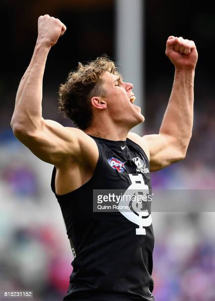 Charlie Curnow of the Blues celebrates kicking a goal during the round 17 AFL match between the Carlton Blues and the Western Bulldogs at Melbourne...