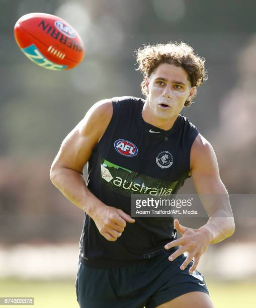 Charlie Curnow of the Blues in action during the Carlton Blues training session at Princes Park on November 15 2017 in Melbourne Australia