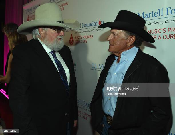 Charlie Daniels and George Strait attend the TJ Martell Foundation 9th Annual Nashville Honors Gala at Omni Hotel on February 27 2017 in Nashville...