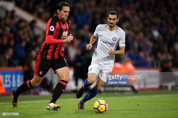 Charlie Daniels of AFC Bournemouth and Davide Zappacosta of Chelsea battle for possession during the Premier League match between AFC Bournemouth and...