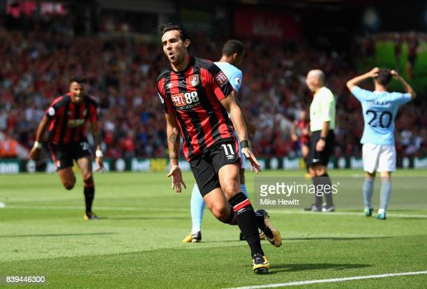 Charlie Daniels of AFC Bournemouth celebrates scoring his sides first goal during the Premier League match between AFC Bournemouth and Manchester...