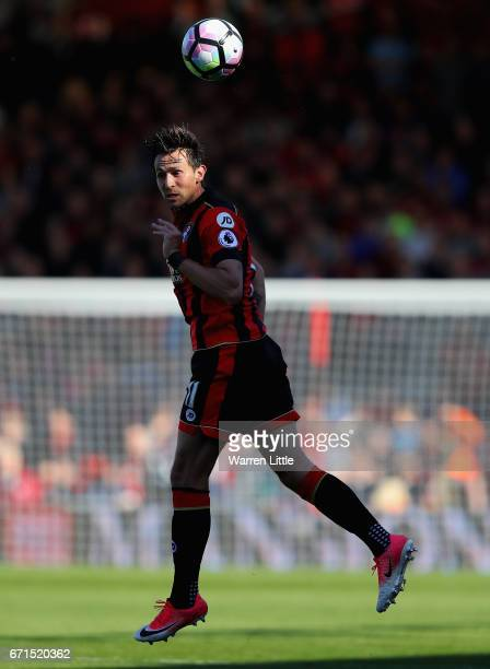 Charlie Daniels of AFC Bournemouth heads the ball during the Premier League match between AFC Bournemouth and Middlesbrough at the Vitality Stadium...