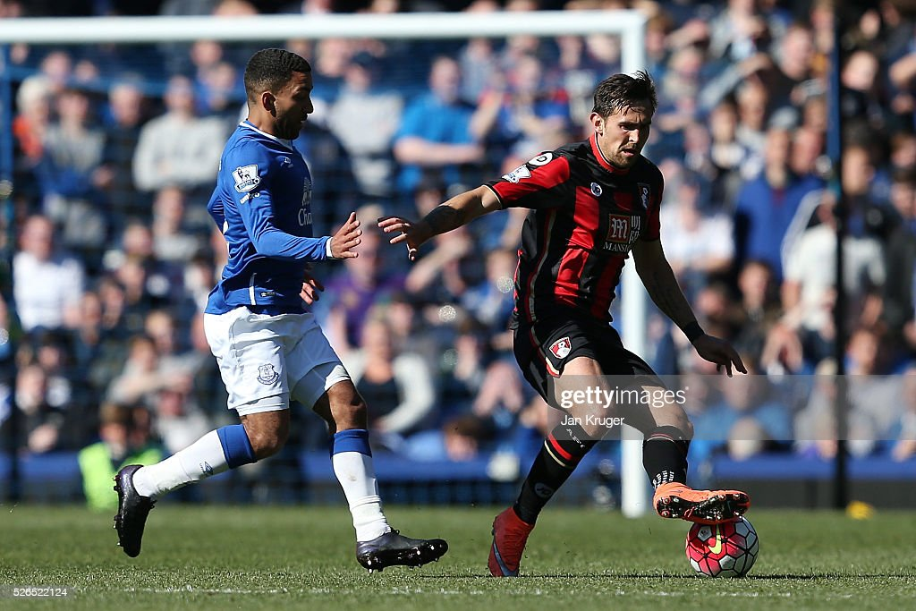 Charlie Daniels of Bournemouth and Aaron Lennon of Everton compete for the ball during the Barclays Premier League match between Everton and A.F.C. Bournemouth at Goodison Park on April 30, 2016 in Liverpool, England.