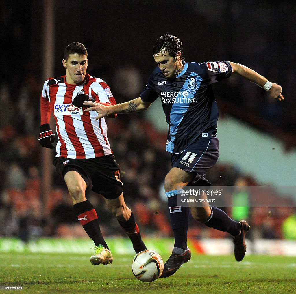 Charlie Daniels of Bournemouth attacks during the npower League One match between Brentford and Bournemouth at Griffin Park on January 01, 2013 in London England.