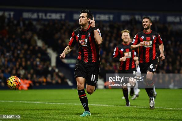 Charlie Daniels of Bournemouth celebrates scoring his team's second goal from the penalty spot during the Barclays Premier League match between West...