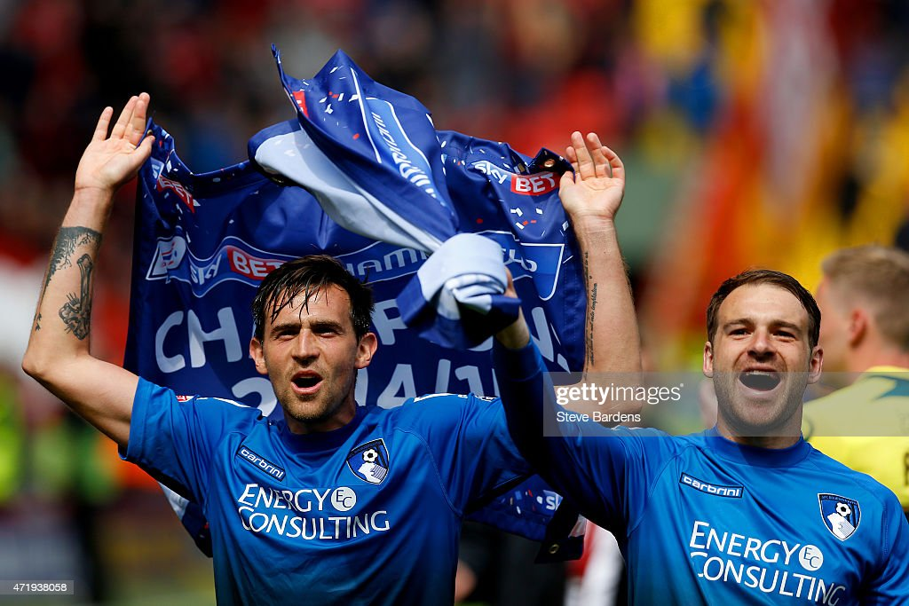 Charlie Daniels of Bournemouth celebrates winning the Championship after the Sky Bet Championship match between Charlton Athletic and AFC Bournemouth...