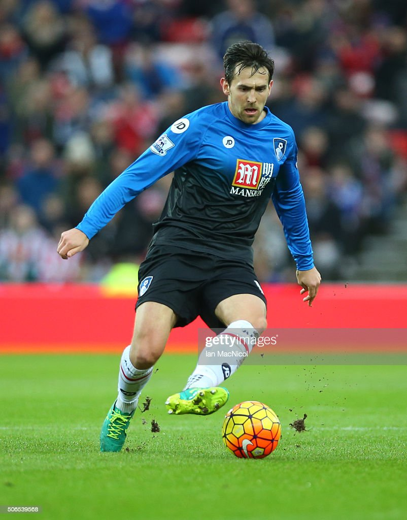 Charlie Daniels of Bournemouth controls the ball during the Barclays Premier League match between Sunderland and Bournemouth at The Stadium of Light...