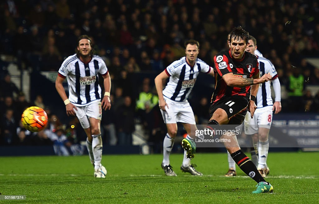 Charlie Daniels of Bournemouth converts the penalty to score his team's second goal during the Barclays Premier League match between West Bromwich...