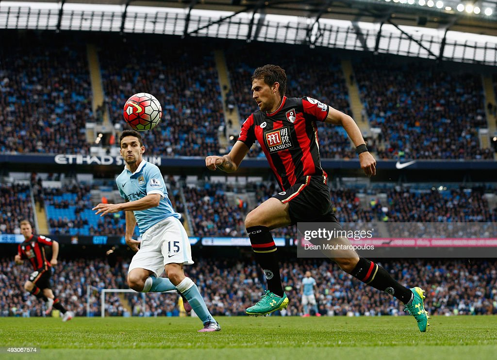 Charlie Daniels of Bournemouth in action during the Barclays Premier League match between Manchester City and AFC Bournemouth at Etihad Stadium on...
