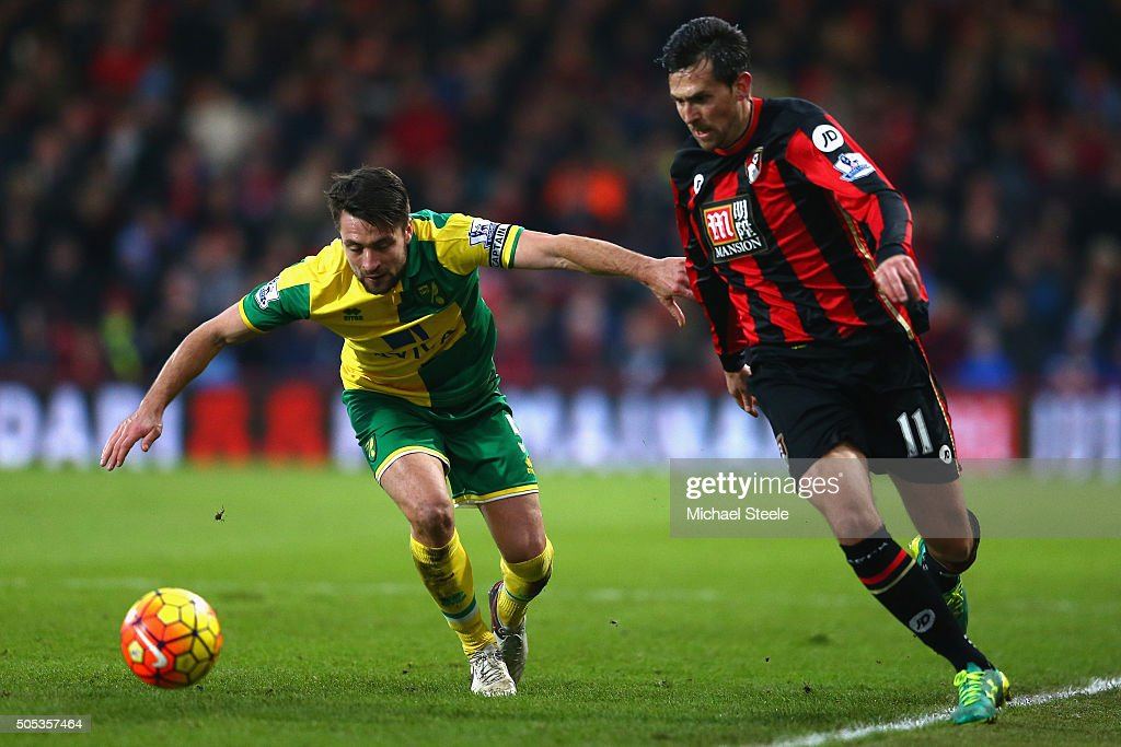 Charlie Daniels of Bournemouth takes on Russell Martin of Norwich City during the Barclays Premier League match between AFC Bournemouth and Norwich...