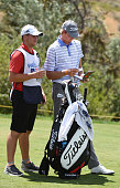 Charlie Danielson and his caddie wait their turn on the eighth hole during the second round of the Utah Championship Presented by Zions Bank at...