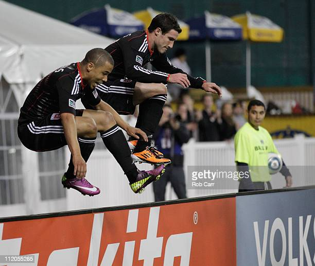 Charlie Davies of the DC United and teammate Chris Pontius celebrate after Davies scored a goal against the Los Angeles Galaxy during the second at...