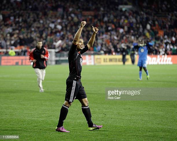 Charlie Davies of the DC United celebrates his goal against the Los Angeles Galaxy during the second half at RFK Stadium on April 9 2011 in...