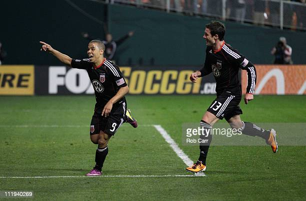 Charlie Davies of the DC United celebrates his goal with teammate Chris Pontius during the second half against the Los Angeles Galaxy at RFK Stadium...