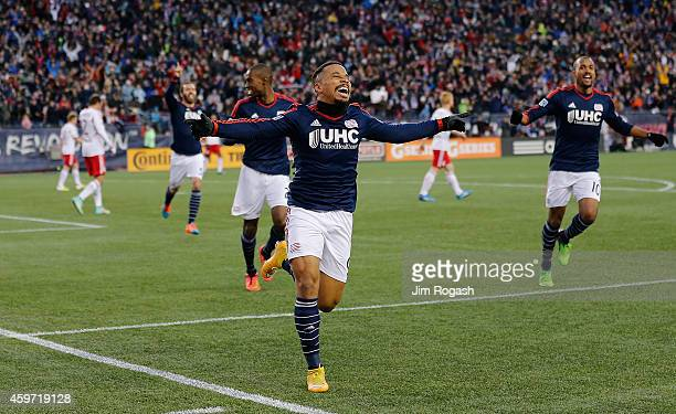 Charlie Davies of the New England Revolution celebrates his goal in the first half against New York Red Bulls during Leg 2 of the MLS Eastern...